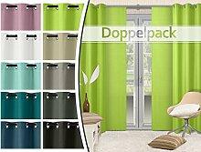 Doppelpack - blickdichte Ösen- oder Schiebevorhänge aus edlem Panamagewebe - grob strukturierter Stoff in 10 Farben, Ösenschal, hellgrün