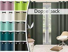 Doppelpack - blickdichte Ösen- oder Schiebevorhänge aus edlem Panamagewebe - grob strukturierter Stoff in 10 Farben, Schiebevorhang, silber