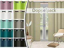 Doppelpack - blickdichte Ösen- oder Schiebevorhänge aus edlem Panamagewebe - grob strukturierter Stoff in 10 Farben, Ösenschal, creme