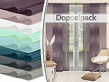 Doppelpack - Schiebevorhänge - halbtransparent - gelaserter Seitenkante ohne Saum - in 8 Farben - Maße ca. 245 cm x 60 cm, brombeere