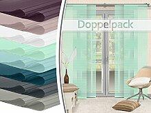 Doppelpack - Schiebevorhänge - halbtransparent - gelaserter Seitenkante ohne Saum - in 8 Farben - Maße ca. 245 cm x 60 cm, min
