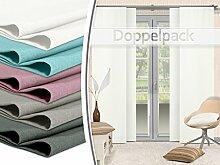 Doppelpack - Schiebevorhänge - leicht changierend - in 5 Farben - Maße ca. 245 cm x 60 cm, weiß