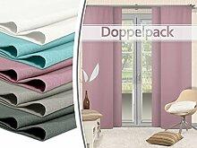 Doppelpack - Schiebevorhänge - leicht changierend - in 5 Farben - Maße ca. 245 cm x 60 cm, altrosa