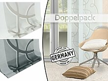 Doppelpack - Schiebevorhang Lola von Home Decoration - Scherli in 2 Farben, halbtransparent - Made in Germany - Maße ca. 245 cm x 60 cm, weiß-taupe
