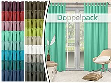 Doppelpack - Schlaufenvorhänge - leicht changierend - elegantes Design - unifarbener Dekostoff in 17 Farben, min