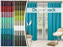 Doppelpack - Schlaufenvorhänge - leicht changierend - elegantes Design - unifarbener Dekostoff in 17 Farben, türkis
