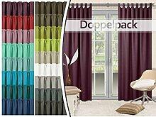 Doppelpack - Schlaufenvorhänge - leicht changierend - elegantes Design - unifarbener Dekostoff in 17 Farben, beere