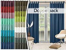 Doppelpack - Schlaufenvorhänge - leicht changierend - elegantes Design - unifarbener Dekostoff in 17 Farben, dunkelblau