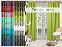 Doppelpack - Schlaufenvorhänge - leicht changierend - elegantes Design - unifarbener Dekostoff in 17 Farben, hellgrün