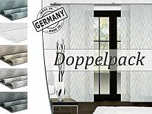 Doppelpack zum Sparpreis - halbtransparenter Schiebevorhang Empire von Trend-Collection - Wohndekoration Made in Germany in topaktueller Grafikmusterung - aufwendige Scherlitechnik- Maße ca. 245 cm x 60 cm, anthrazit-silber