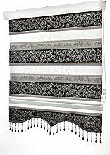 Doppelrollo Fensterdeko Sonnenschutz , 80cm - 200cm, (weitere Farben) (180, Zebra Jakar Schwarz)