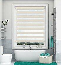 Doppelrollo Klemmfix ohne Bohren Leinen 65x150cm Duo Rollo mit Klämmträgern Sicht und Sonnenschutz für Fenster und Türen