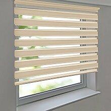 Doppelrollo PREMIUM 120 x 200 cm beige zum Anschrauben freihängend für Wand- und Deckenmontage inkl. Metallträger