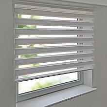 Doppelrollo PREMIUM 85 x 200 cm weiß zum Anschrauben freihängend für Wand- und Deckenmontage inkl. Metallträger