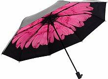 Doppelschicht Sonnenschutz Schwarz Banane Gänseblümchen Sonnig Regen Falte Schatten Vinyl UV Regenschirm,D