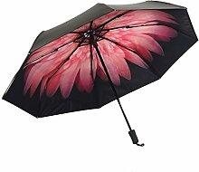 Doppelschicht Sonnenschutz Schwarz Banane Gänseblümchen Sonnig Regen Falte Schatten Vinyl UV Regenschirm,A