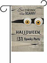 Doppelseitig Funny Halloween mit Mummy Big Eyes Polyester HAUS/Garten Flagge Banner 12x 18/71,1x 101,6cm für Hochzeit Party alle Wetter, Polyester, mehrfarbig, 28x40