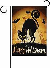 Doppelseitig Halloween mit schwarzer Katze auf Mond Polyester HAUS/Garten Flagge Banner 12x 18/71,1x 101,6cm für Hochzeit Party alle Wetter, Polyester, mehrfarbig, 28x40