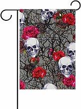 Doppelseitig Halloween Skulls Rose Blumen Watercolor für Dia de los Muertos Polyester HAUS/Garten Flagge Banner 12x 18/71,1x 101,6cm für Hochzeit Party alle Wetter, Polyester, mehrfarbig, 28x40