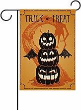 Doppelseitig Halloween Trick or Treat Evil Baum und Kürbisse mit Bat Polyester HAUS/Garten Flagge Banner 12x 18/71,1x 101,6cm für Hochzeit Party alle Wetter, Polyester, mehrfarbig, 28x40