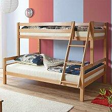 Doppelstockbett aus Buche Massivholz 140x200 cm