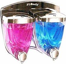 Doppelt Seife/Shampoo Spender, Edelstahl Chrom Wandmontage selbstklebend/Bohrmaschine Kleiderbügel Dusche Waschen 350ml x2