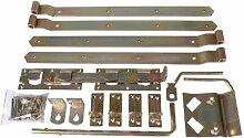 Doppeltorüberwurf aus Stahl, gelb verzinkt für Gartenzaun Tore inkl. Torbänder, Türöffner, Schrauben, Torfeststeller, Auflaufblock und Montagematerial