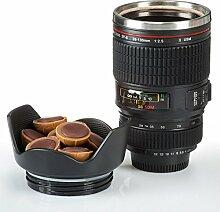 Doppelwandige Edelstahl Tasse Kameraobjektiv
