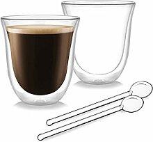 Doppelwandige Gläser 2er Set - 220ml Kaffeeglas