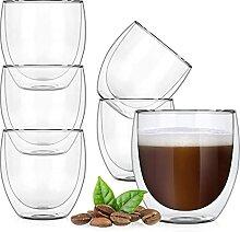 Doppelwandige Glas-Kaffeetassen, isolierter