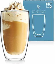 Doppelwandige Glas-Kaffeetassen ohne Henkel,