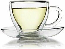 Doppelwandige Thermo Glas Tasse und Untertasse