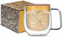 Doppelwandiges Kaffeeglas, isoliertes Glas,
