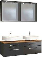 Doppelwaschtisch und Spiegel in dunkel Grau