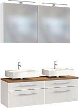 Doppelwaschtisch und Spiegel in Weiß und