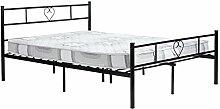 DORAFAIR Doppelbett Metallbett Einzel Bett Metall