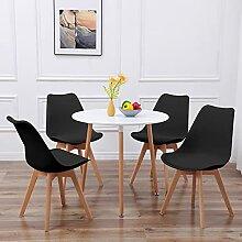 für Küche Büro DORAFAIR Set aus Runder Esstisch und 4 Skandinavischen Stühlen