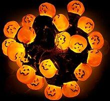 DORESshop 20 LED-Halloween-Kürbis-Lichterketten,