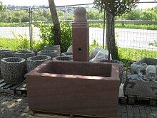Dorfbrunnen aus rotem Sandstein Granit Trog