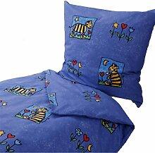 Dormisette Kinderbettwäsche 135x200 80x80 cm, Gestreifter Tiger, Blumen, Blau, Baumwolle Fein Biber, Bettwäsche, Winterbettwäsche, Kinderzimmer, warm, weich flauschig