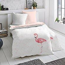 Dormisette Mako-Satin Bettwäsche Flamingo 1