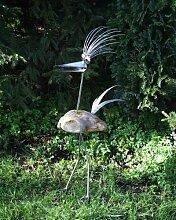 Dorothea ca. 120 cm Steinvogel als Gartendekoration, Gartenfigur, Gartendeko, Edelstahlvogel nicht rostend mit Naturstein (Kein Stein ist wie der Andere Abweichungen vom Foto sind Normal) Größe X
