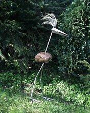 Dorothea XXXL ca 190 cm Steinvogel als Gartendekoration, Gartenfigur, Gartendeko, Edelstahlvogel nicht rostend mit Naturstein (Kein Stein ist wie der Andere Abweichungen vom Foto sind Normal)