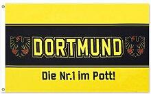 Dortmund Fahne Meisterfahne Flagge Dortmundfahne Hissfahne Zimmerfahne, wählen:FL-DO07 Nr. 1 im Po