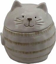Dose Keramikdose Katze Katzen glasiert • 2 Farben zur Auswahl weiß oder grau • 10x10x10 cm • Motiv Katze • sehr ausgefallen • Dose Behälter Vorratsdose • Geschenkidee (Auswahl Dose grau)