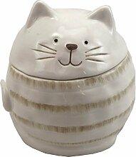 Dose Keramikdose Katze Katzen glasiert • 2 Farben zur Auswahl weiß oder grau • 10x10x10 cm • Motiv Katze • sehr ausgefallen • Dose Behälter Vorratsdose • Geschenkidee (Auswahl Dose weiß)