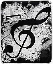 DOSHINE Überwurf-Decke, mit Musiknoten, schwarzes