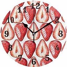 DOSHINE Wanduhr, Erdbeerobst, geräuschlos, Nicht