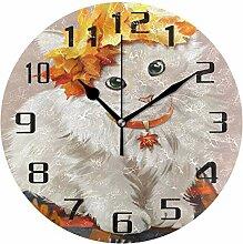 DOSHINE Wanduhr, Herbstleaevs Tierkatze,