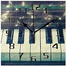 DOSHINE Wanduhr, Musiknote, Klaviertasten,